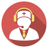 Medical Emergency Operator Flat Round Icon with Long Shadow