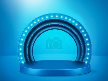 Photo for A blue illuminated stage podium with lights - Royalty Free Image