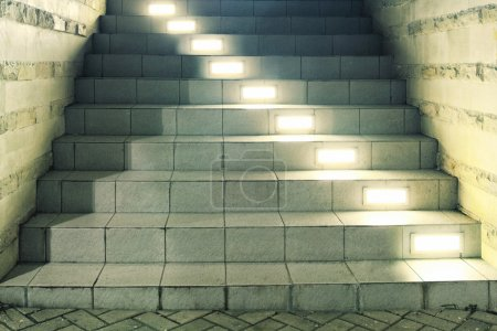 Stairway with lamps