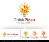Think Pizza Logo Template Design Vector