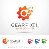 Gear Pixel Logo Template Design Vector