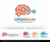 Open Brain Logo Template Design Vector
