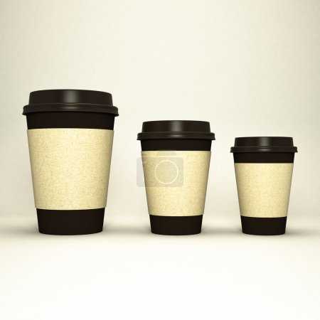 Photo pour Trois tasses à café en papier haute résolution - image libre de droit