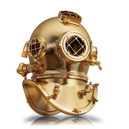 ilustración de un casco de buceo dorado