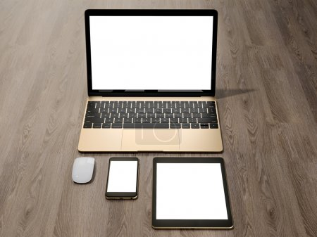 Photo pour Ordinateur portable, tablette, téléphone, tout au même endroit. Haute résolution - image libre de droit