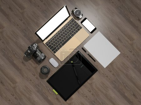 Designer accessories and gadgets on wood background