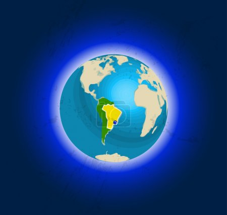 Illustration for Stylized Globe in space, views of South America, accented Brazil. Rio de Janeiro location marked. The planet is surrounded by the atmosphere and the dark blue space - Royalty Free Image