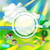 Country landscape background with a round frame