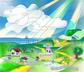 Country Rural cartoon landscape