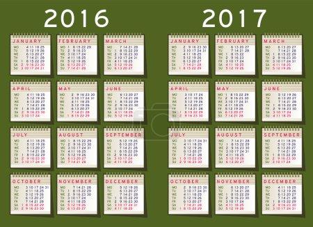 Calendar 2016 vector Set week starts monday