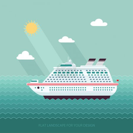 Illustration for Ship in the Ocean. Trip around the world. Flat design style vector illustration. - Royalty Free Image