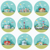Mega Set of icons for your design School Town Hall the university hospital church TV city museum supermarket areoport car wash Flat style vector illustration