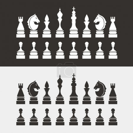 Chess pieces flat style. Vector.