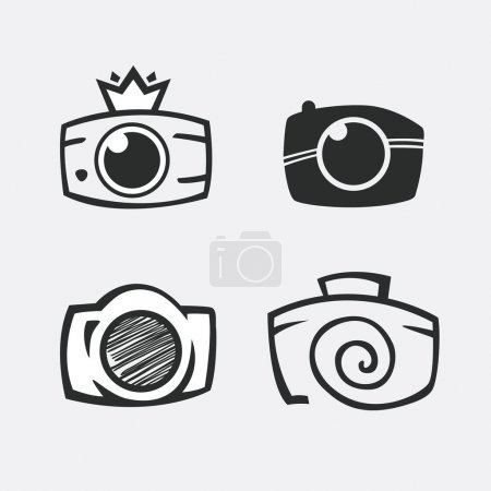 Photos Logo. Camera, logo vector set. Trendy Hipster camera. pho