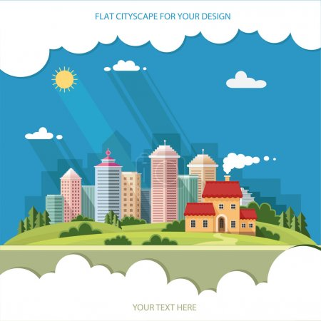 Illustration for Cityscape - summer  Country house on a background of a big city. Flat style vector illustration. - Royalty Free Image