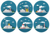 Industrial landscape set The nuclear power plant and factory on