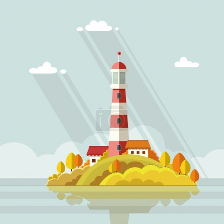 Illustration for Seascape. Lighthouse on the island on a background of clouds. Flat vector illustrations - Royalty Free Image