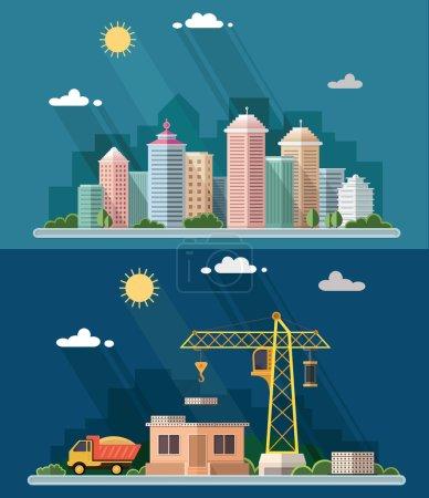 Urban landscape illustration set. big city, Construction site, b