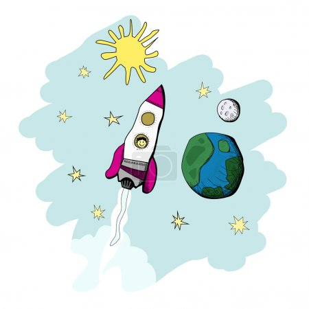 Illustration for Child's drawing of a rocket at the outer space near the planets. vector illustrations - Royalty Free Image