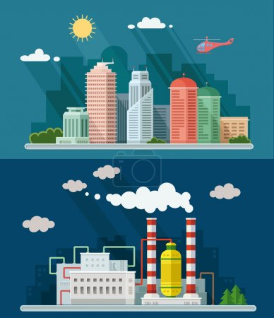Illustration for Set of flat design. Urban landscape illustrations including downtown, suburb and industrial landscapes - Royalty Free Image