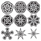 Set of logo templates in Celtic knots style Tribal tattoo symbols package Nine silver ornaments for jewelry design Monochrome logos design