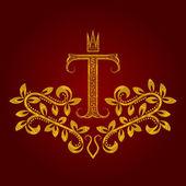 Patterned golden letter T monogram in vintage style