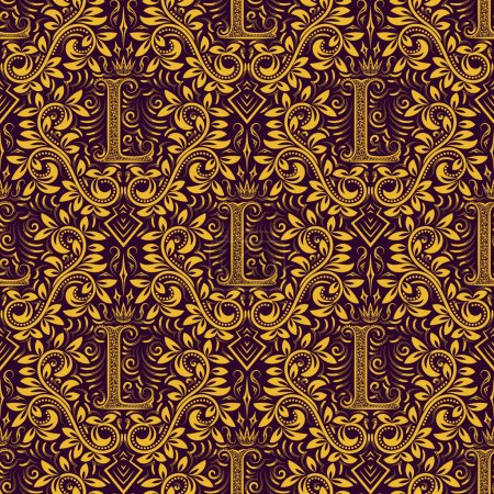 Golden purple seamless pattern with L letter and crown