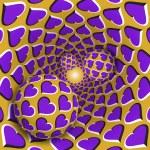 Optical illusion illustration. Three balls with a ...