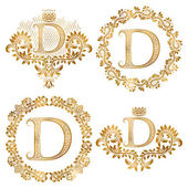 Golden letter D vintage monograms set Heraldic monogram in coats of arms and round frames