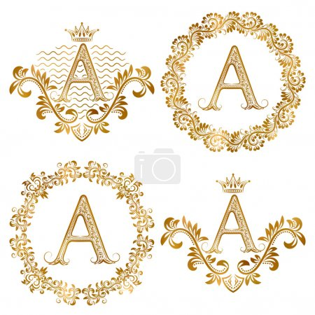 Golden letter A vintage monograms set. Heraldic monogram in coats of arms and round frames.
