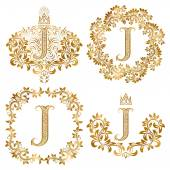 Golden letter J vintage monograms set Heraldic monogram in coats of arms and round frames
