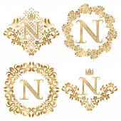 Golden letter N vintage monograms set