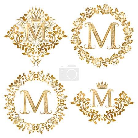 Golden letter M vintage monograms set.