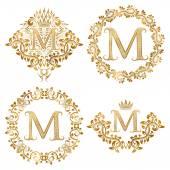 Golden letter M vintage monograms set