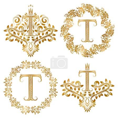 Golden T letter vintage monograms set.