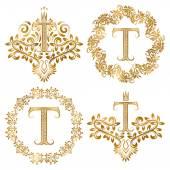 Golden T letter vintage monograms set