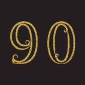 Nine zero golden glittering outline numbers Vintage font with flourishes