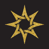 Golden glittering symbol in eight pointed star form