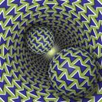 Optical illusion illustration. Two balls are movin...