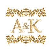 A&K vintage initials logo symbol