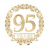 Golden emblem of ninety fifth years anniversary in vintage style