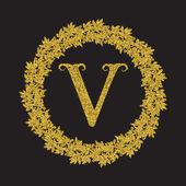 Golden glittering letter V monogram in vintage style