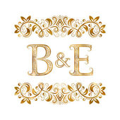 B&E vintage initials logo symbol Letters B E ampersand surrounded floral ornament Wedding or business partners initials monogram in royal style