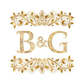 B&G vintage initials logo symbol Letters B G ampersand surrounded floral ornament Wedding or business partners initials monogram in royal style