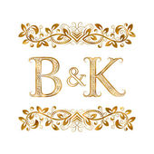 B&K vintage initials logo symbol Letters B K ampersand surrounded floral ornament Wedding or business partners initials monogram in royal style