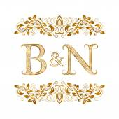 B&N vintage initials logo symbol Letters B N ampersand surrounded floral ornament Wedding or business partners initials monogram in royal style