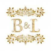 B&L vintage initials logo symbol Letters B L ampersand surrounded floral ornament Wedding or business partners initials monogram in royal style