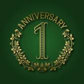 Golden emblem of first anniversary Celebration patterned logotype with shadow on green
