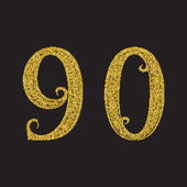 Nine zero golden glittering numbers Vintage font with gold halftone effect