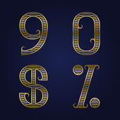Nine zero golden ribbed numbers dollar and percent sign with flourishes
